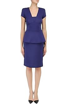 Blue Peplum Dress by Kanika J Singh