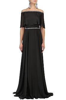 Black Off-Shoulder Cape Gown by Kanika J Singh