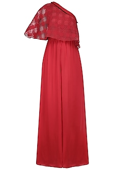 Red One Shoulder Cape Jumpsuit