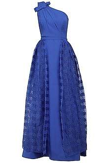 Blue One Shoulder Gown with Trial by Kanika J Singh
