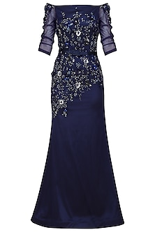 Navy Blue Off Shoulder A Line Gown