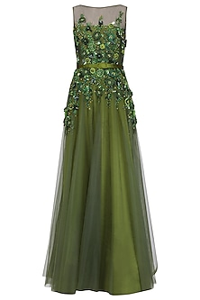 Olive Floral Embroidered Gown