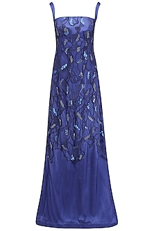 Navy Embroidered Straight Gown by Kanika J Singh