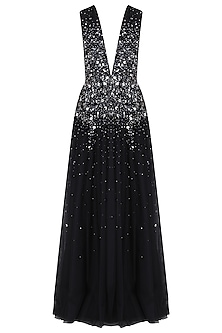 Black Sprinkle Embroidered Gown