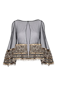 Black and gold embroidered cape