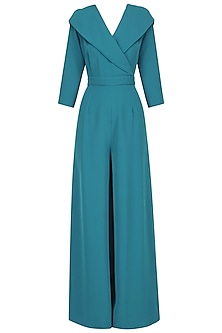 Teal wide leg Jumpsuit