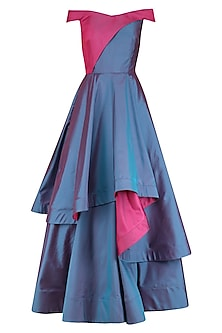 Blue and Pink Tiered Flared Gown by Kanika J Singh