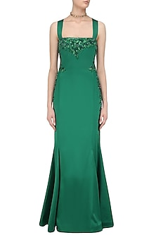 Green Sequins and Dabka Embroidered Gown by Kanika J Singh