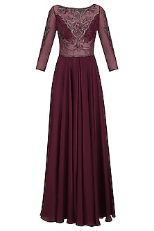 Maroon Beads and Crystal Embroidered Classic Gown by Kanika J Singh