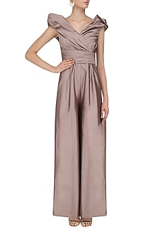 Dusty Rose Ruched Pleated Dramatic Jumpsuit by Kanika J Singh