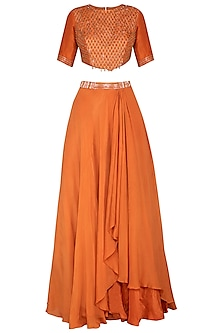 Rust Orange Embroidered Top With Waterfall Layered Skirt by Kakandora
