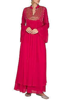 Hot Pink Embroidered Layered Gown by Kakandora
