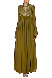 Olive Green Embroidered Gown by Kakandora