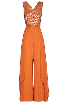 Rust Orange Embellished Jumpsuit by Kakandora