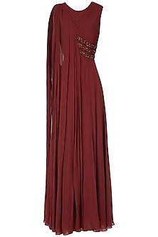 Maroon Embroidered Drape Anarkali Gown