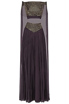 Wine Embroidered Bardot Crop Top with Gathered Skirt