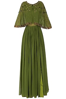 Olive Green Anarkali Gown with Embroidered Cape by Kakandora