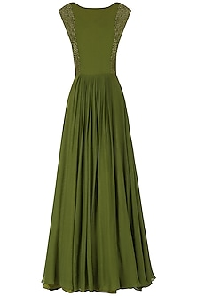 Olive Green Embroidered Flared Gown by Kakandora