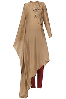 Beige Embroidered Poncho Kurta with Pants