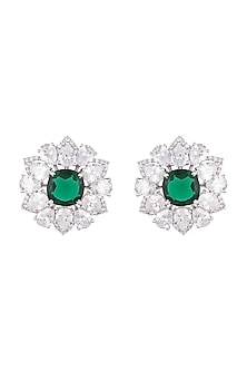 White Finish Emerald Earrings by Just Shraddha