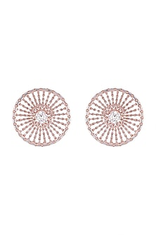 Rose Gold Finish Round Stud Earrings by Just Shraddha