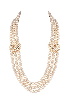 Antique Gold Plated Kundan & Pearl Necklace by Just Shraddha