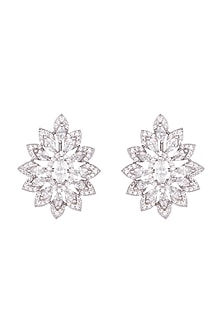 White Finish Faux Solitaire Floral Earrings by Just Shraddha