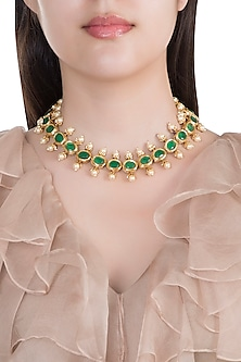 Antique Gold Plated Kundan, Emerald & Pearl Necklace by Just Shraddha