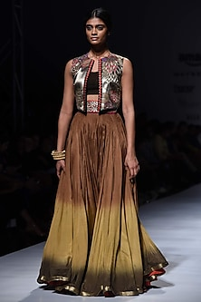 Gold Embroidered Crop Jacket with Black Bustier and Lehenga