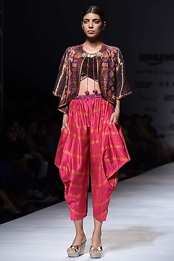 Copper Embroidered Jacket with Gota Embellished Fuchsia Pink Dhoti Pants by Krishna Mehta