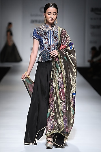 Black Antique Embroidered Jacket and Draped Trousers Set by Krishna Mehta
