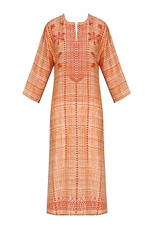 Orange and Red Block Printed Tunic by Krishna Mehta