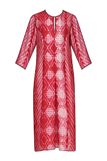 Red and Pink Block Printed Tie-Dye Tunic by Krishna Mehta