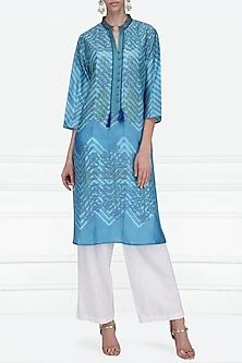 Blue Block Printed Tie-Dye Tunic by Krishna Mehta