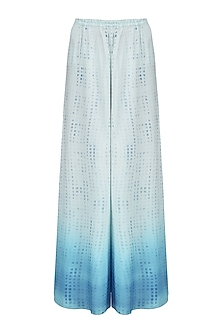 White To Blue Ombre Block Printed Palazzo Pants by Krishna Mehta