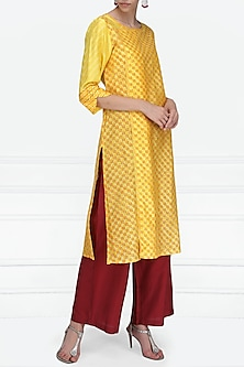Yellow Block Printed Tie-Dye Tunic by Krishna Mehta