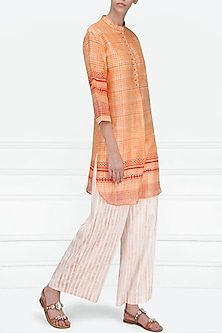 Red and Orange Block Printed Short Tunic by Krishna Mehta