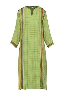 Olive Green Printed Tunic by Krishna Mehta