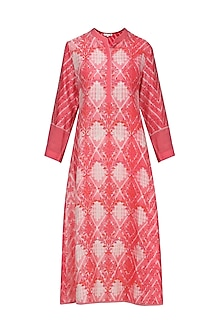 Melon Red and White Block Printed Tie-Dye Tunic