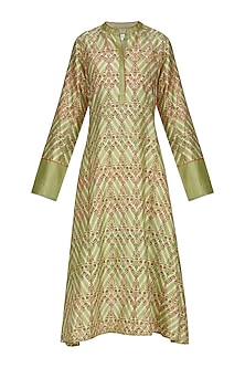 Green Asymmetrical Block Printed Tunic