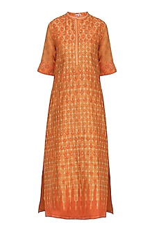 Orange Block Printed Tie-Dye Tunic