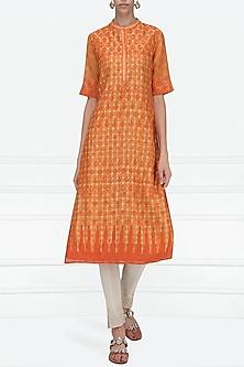 Orange Block Printed Tie-Dye Tunic by Krishna Mehta
