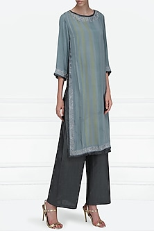 Blue Printed Tunic with Pants by Krishna Mehta