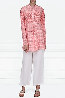 Pink Block Printed Short Tunic by Krishna Mehta