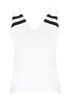 White V Neck Double Strapped Tank Top