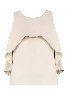Beige Scalloped Overlap Crop Top