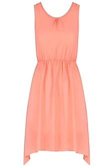 Coral Scooped Neck High Low Dress