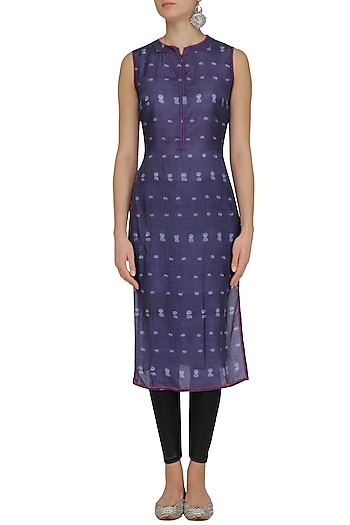 Purple Tye and Dye Print Sleeveless Tunic by Krishna Mehta