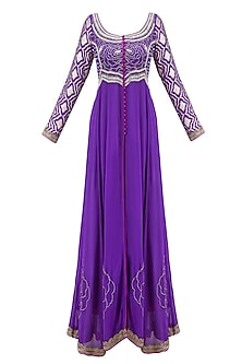 Purple Embroidered Flared Anarkali with Pants