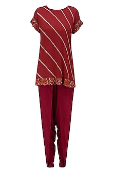 Red Rose Embroidered Tunic and Dhoti Pants Set